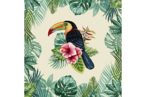 CARRÉ DÉCO VINTAGE TOUCAN TROPICAL