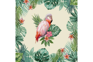 CARRÉ DÉCO VINTAGE FLAMANT ROSE TROPICAL
