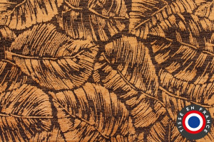TISSU VELOURS RELIEF PLUMES OR / MARRON