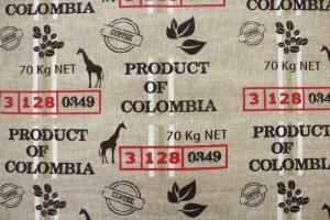 TISSU ASPECT JUTE SAC DE CAFÉ COLOMBIA