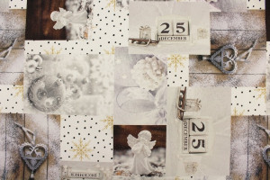 TISSU COTON NOEL PATCHWORK ANGES FLOCONS