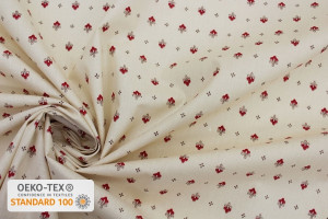 TISSU PROVENCAL VENCE ALL OVER ROUGE / BEIGE
