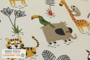 TISSU COTON ANIMAUX JUNGLE SAVANE