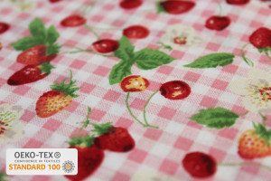 TISSU COTON FRUITS ROUGES CARREAUX VICHY ROSE