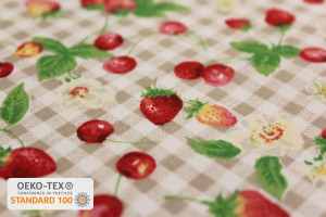 TISSU COTON FRUITS ROUGES CARREAUX VICHY LIN