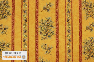 TISSU PROVENCAL BRANCHES OLIVIERS RAYURES JAUNE