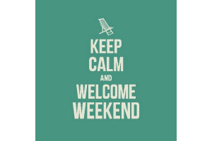 CARRÉ DÉCO VINTAGE KEEP CALM AND WELCOME WEEKEND