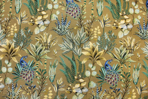 TISSU JACQUARD PAONS BUISSONS FEUILLAGES OR