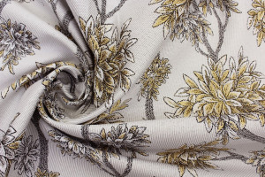 TISSU JACQUARD BRANCHES FEUILLAGES OR