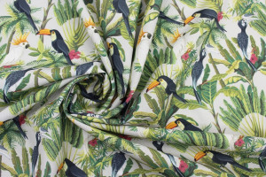 TISSU COTON TROPICAL PERROQUETS TOUCANS JUNGLE