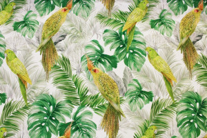 TISSU TROPICAL PERROQUETS JUNGLE VERT
