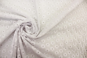 TISSU BRODERIE ANGLAISE FLORALE BLANC