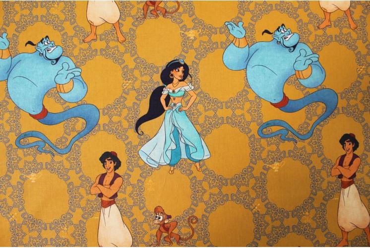 Tissu Dessin Anime Disney Aladdin Jasmine Genie Jaune
