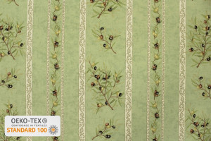 TISSU PROVENCAL BRANCHES OLIVIERS RAYURES VERT