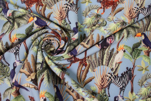TISSU IMPERMÉABLE SOFTSHELL ANIMAUX TROPICAUX JUNGLE