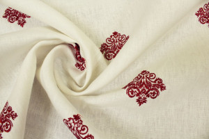 LIN BRODERIES ARABESQUES ROUGE