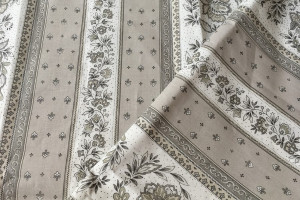 TISSU PROVENCAL - VENCE RAYURE GRIS / BEIGE