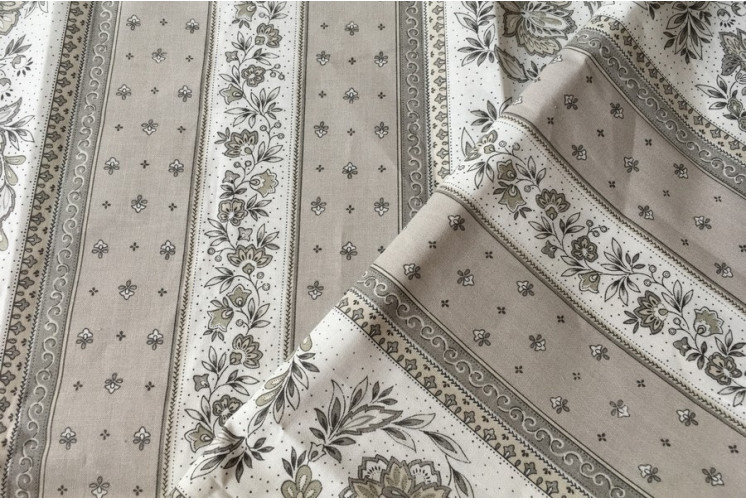 TISSU PROVENCAL VENCE RAYURE GRIS / BEIGE