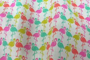 TISSU COTON FLAMANTS CAMARGUE MULTICOLORE