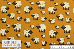 TISSU JERSEY MOUTONS OCRE