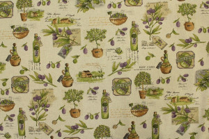 TISSU PROVENCE HUILE D'OLIVE FOND LIN