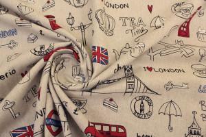 TISSU SYMBOLES DE LONDRES FOND LIN
