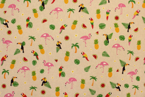 TISSU TOUCANS PERROQUETS FLAMANTS FRUITS FOND LIN