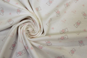TISSU JERSEY PETITS OURSONS BABY ROSE