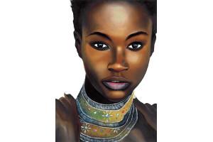 PANNEAU DÉCO FEMME AFRICAINE 100 x 140 CM
