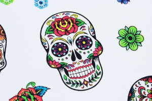 SIMILI CUIR TÊTES DE MORT MEXICAINES BLANC
