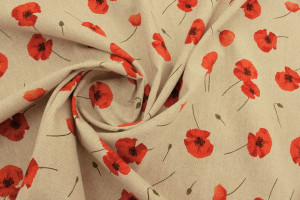 TISSU COQUELICOTS MOYENS ROUGE