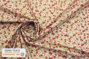 TISSU COTON POPELINE MINI FLOWERS OEILLETS ORANGE