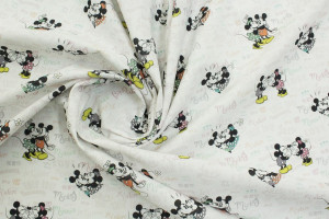TISSU DESSIN ANIMÉ DISNEY MICKEY & MINNIE LOVE BLANC