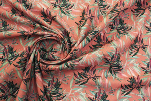 TISSU COTON TROPICAL LONGS FEUILLAGES ROSE