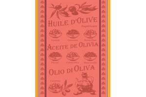 TORCHON HUILE D'OLIVE CORAIL