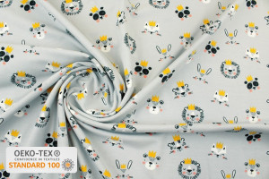 TISSU JERSEY TÊTES ANIMAUX COURONNES GRIS