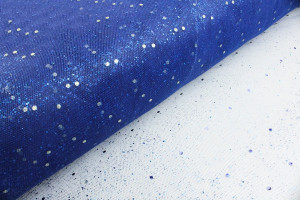 TULLE CARNAVAL PAILLETTES MOYENNES MARINE