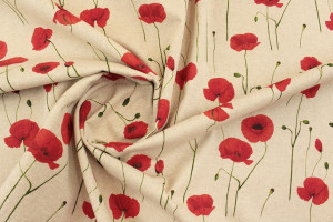 TISSU COQUELICOTS BOUTONS FLORAUX FOND LIN
