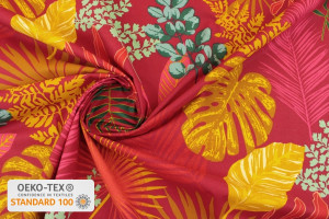 TISSU COTON FEUILLES TROPICALES MIMOSA ROUGE