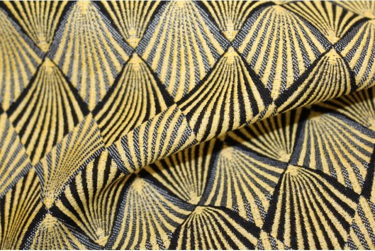 tissu d 39 ameublement plumes de paon or tissus plus. Black Bedroom Furniture Sets. Home Design Ideas