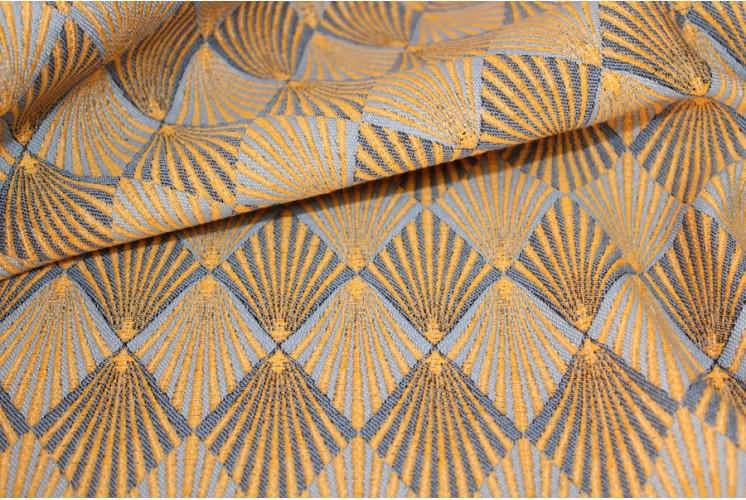 tissu d 39 ameublement plumes de paon orange tissus plus. Black Bedroom Furniture Sets. Home Design Ideas