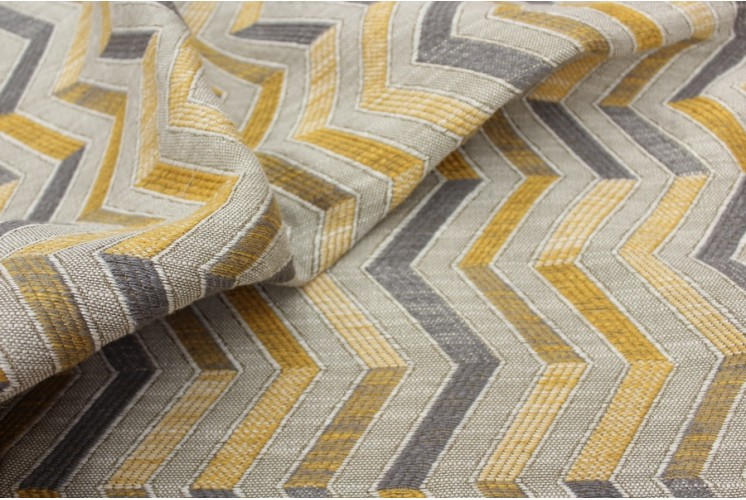 tissu d 39 ameublement zig zag jaune gris tissus plus. Black Bedroom Furniture Sets. Home Design Ideas