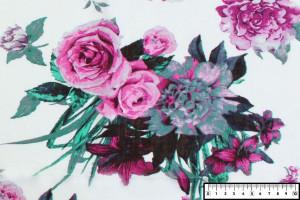 COUPON VISCOSE GRANDES FLEURS ROSE 200 X 140 CM