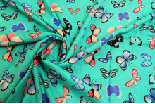 COUPON VISCOSE PAPILLONS TURQUOISE 200 X 140 CM