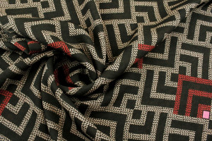 TISSU MICROFIBRE STYLE LABYRINTHE ROUGE