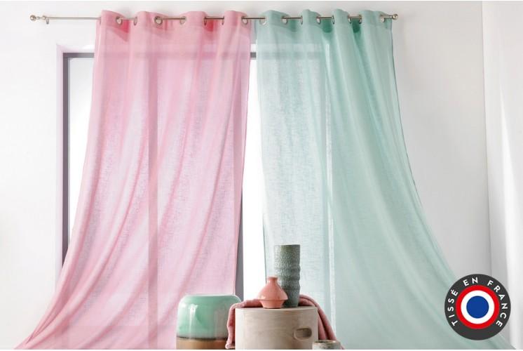 rideau oeillets aspect lin blanc 240 x 260 cm tissus plus. Black Bedroom Furniture Sets. Home Design Ideas