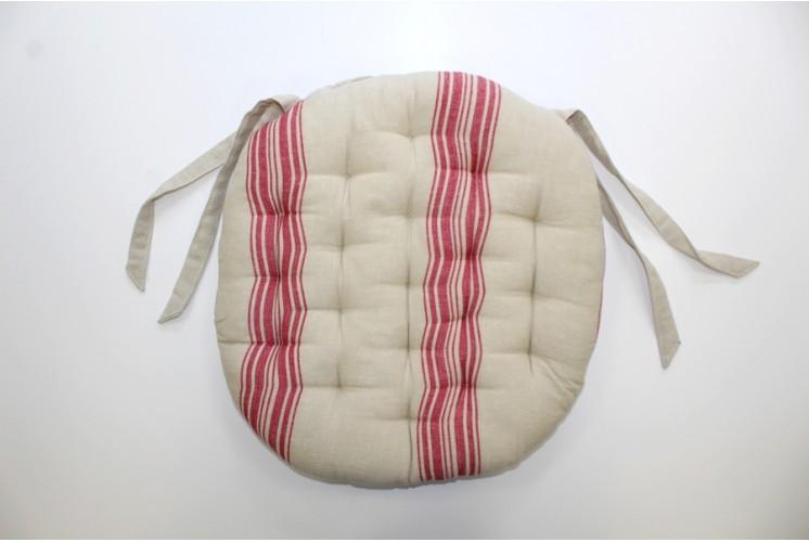 galette de chaise ronde rayures rouge lin tissus plus. Black Bedroom Furniture Sets. Home Design Ideas
