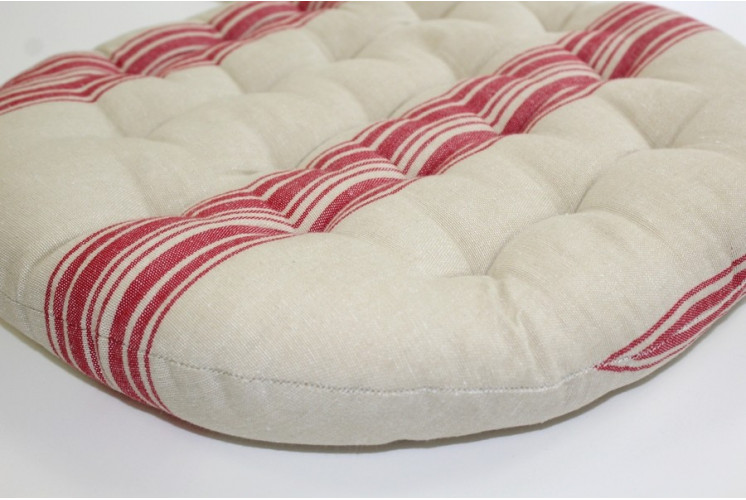 GALETTE DE CHAISE RONDE RAYURES ROUGE LIN