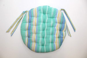 GALETTE DE CHAISE RONDE RAYURES TURQUOISE / BLEU