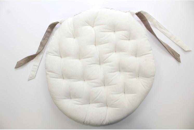 Galette De Chaise Ronde Biface Unie Blanc Tissus Plus